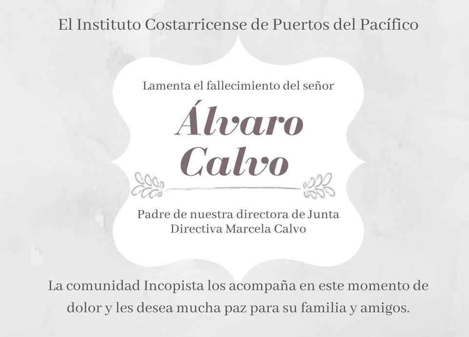 , Nota Luctuosa: Fallecimiento Sr. Álvaro Calvo